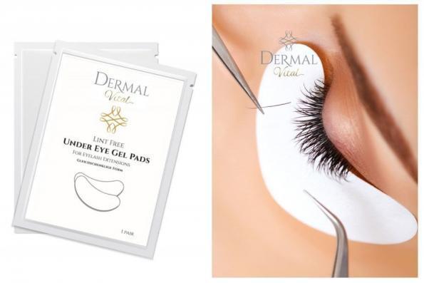 Augenpads von Dermal Vital plus einem Schaubild einer Wimpernapplikation