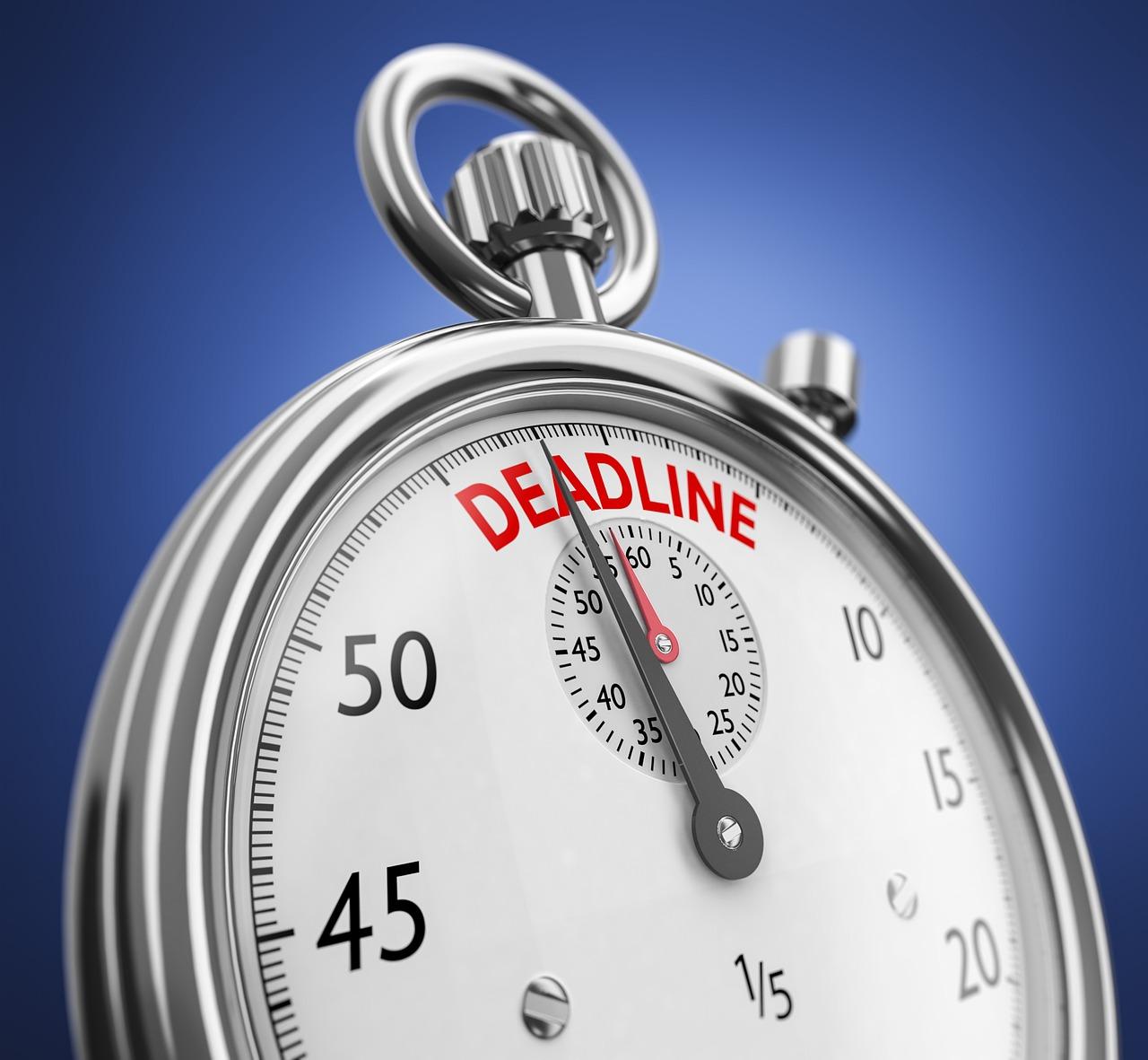 Stoppuhr für 60 Sekunden mit Deadline.