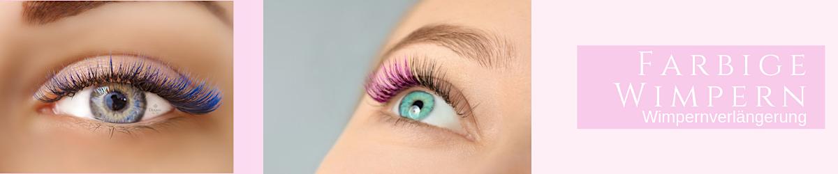 Zwei Augenmodelle mit farbigen Wimpern