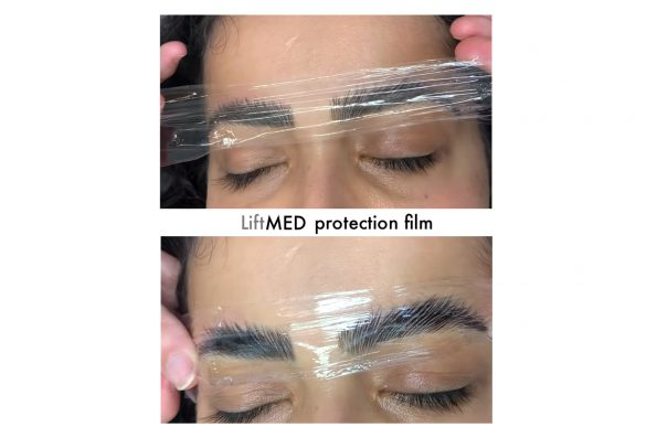 LiftMed protection film in Anwendung bei den Augenbrauen