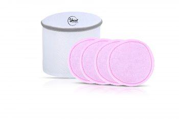 vier rosa wiederverwendbare Cleaning Pads mit Waschnetz