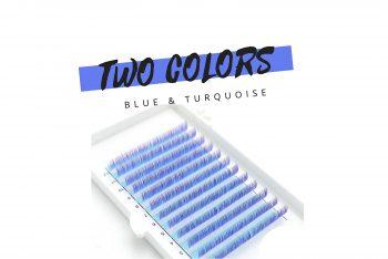 Farbige Wimpern Two Colors blau türkis